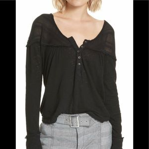 NWT Free People Henley in Black